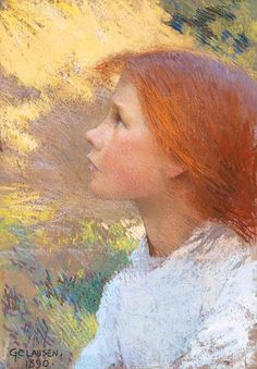 Sir George Clausen- Head of a Young Girl, 1890 (pastel)