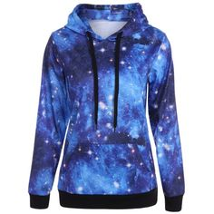 Pullover Galaxy Print Drawstring Hoodie, DEEP BLUE, XL in Sweatshirts & Hoodies   DressLily.com