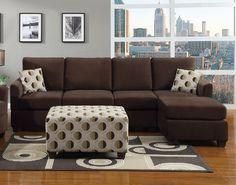 F7499-97 Hamlet Microfiber Sectional Sofa - Hamlet Chocolate Finish Microfiber Reversible Sectional Sofa