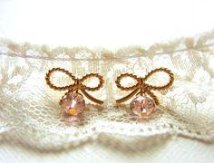 Romantic Bow Earrings by CocoroJewelry on Etsy, $20.00