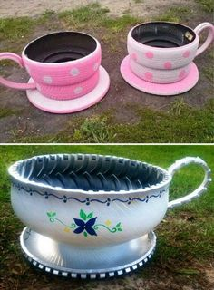 Teacup Planters - Made from old tires! Link to video tutorial