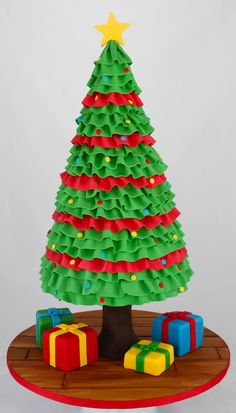 Amazing Christmas Tree Cake - For all your cake decorating supplies, please… Christmas Cake Topper, Christmas Tree Cake, Christmas Cupcakes, Christmas Sweets, Noel Christmas, Christmas Goodies, Christmas Baking, Xmas Tree, Winter Torte