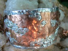 hammered copper cuff bracelet with chains