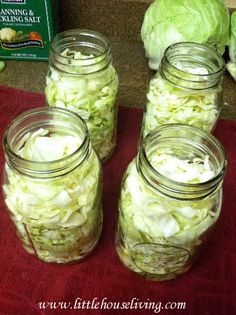 Canning Cabbage - Little House Living  this needs to be pressure canned. When I did it last year mine turned GREY! very ugly.