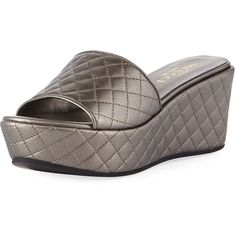 Sesto Meucci Tahnee Quilted Wedge Slide Sandal ($250) ❤ liked on Polyvore featuring shoes, sandals, pewter, wedge slide sandals, metallic wedge sandals, metallic shoes, slide sandals and platform shoes