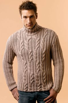 TORINO BULKY Mens Cabled Mock Turtleneck from Tahki Yarns Leaflet, find at All About Yarn in Tigard, Oregon.