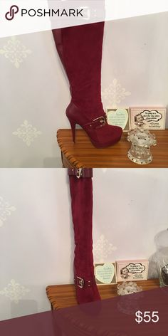 """Boots maroon To the knee gold buckled never been worn 5"""" heel platform 1"""" Shoes Heeled Boots"""
