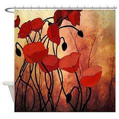 Bathroom Rugs Ideas   CafePress  Red Poppies  Decorative Fabric Shower Curtain * Click image for more details. Note:It is Affiliate Link to Amazon.