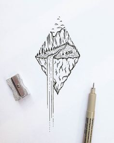 Waterfall Nature Dotwork tattoo idea