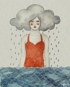 Rain by Sofia Bonati #illustration #pluie #nuage #femme