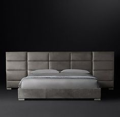 Rectangular Channel Extended Headboard Leather Platform Bed