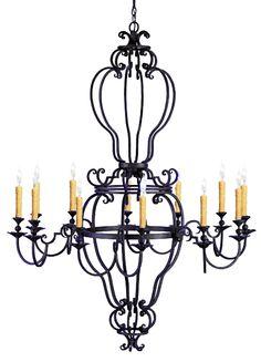 Hand forged iron chandelier design y www.haciendalights.com