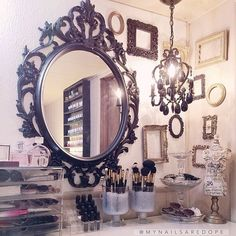 gorgeous makeup table, love the mirror and chandelier!