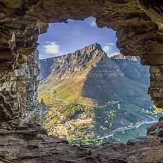 Table Mountain view from Wally's Cave, South Africa
