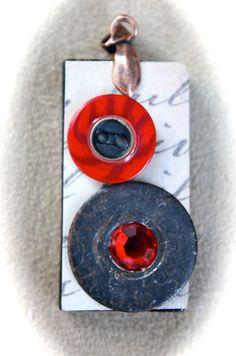 Vintage Domino Ephemera Pendant- 'Crimson Calligraphy' by TTE Designs $10.00, via Etsy. Ephemera, Washer Necklace, My Etsy Shop, Calligraphy, Trending Outfits, Unique Jewelry, Pendant, Handmade Gifts, Vintage