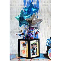 Bulk Graduation Party Idea: DIY Framed Centerpiece at DollarTree. Graduation Open Houses, Graduation Diy, Graduation Celebration, Graduation Party Centerpieces, Graduation Decorations, Photo Centerpieces, Centerpiece Ideas, Reunion Centerpieces, Grad Parties