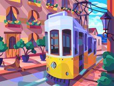 Streetcar by Igor Ianchenko Flat Design Illustration, Landscape Illustration, Illustration Art, Guache, Ink Pen Drawings, Graphic Design Inspiration, Nursery Wall Art, Art For Kids, Cool Art