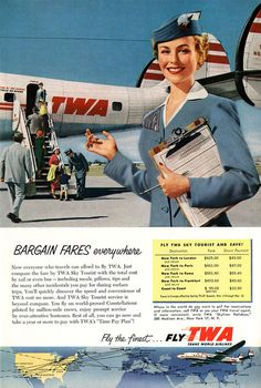 TWA 1954-remember what a pleasure it used to be to fly the friendly skies?