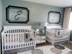 Twins Nursery Project Nursery - Boy Twins Shared Nursery Crib View love this idea on the wall, something different. cute roomProject Nursery - Boy Twins Shared Nursery Crib View love this idea on the wall, something different. Boy Nursery Themes, Nursery Twins, Nursery Crib, Baby Boy Nurseries, Nursery Ideas, Project Nursery, Baby Twins, Room Themes, Bedroom Ideas