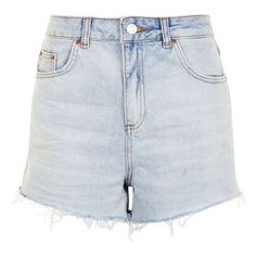 Women's Topshop Longline Denim Mom Shorts ($35) ❤ liked on Polyvore featuring shorts, cut-off shorts, high waisted cut off shorts, long denim shorts, denim shorts and short shorts