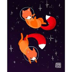 Space Foxes Art Print ($20) ❤ liked on Polyvore featuring home, home decor, wall art, fox home decor and fox wall art