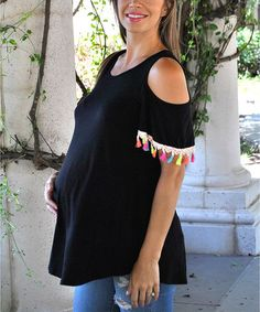 Love this Mommylicious Black Shoulder-Cutout Tassel Maternity Tunic on #zulily…
