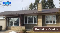 This simple and charming gabled house looks fantastic with its new Armadura Metal Roof. Kodiak (brown) Crinkle is one of our most popular colours. Check out more at www.rvp-roofing.com.  Don't forget to like and pin! #RVP #highstrengthsteel #permanentroof #armadura Roofing Systems, Metal Roof, Don't Forget, Homes, Colours, Popular, Steel, Brown, Simple