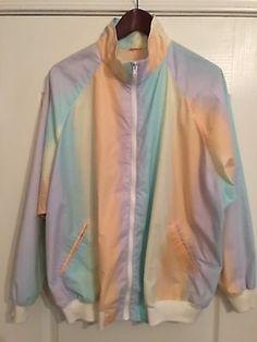 Vintage 90S Pastel Rainbow Zip Up Jacket Womens Size Extra Large/XL