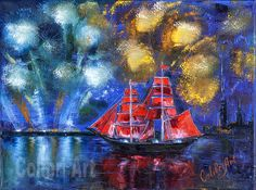 "Author's reproduction (giclee) of Original Handmade Oil Painting Scarlet Sails. St. Petersburg 12"" x 16"" Gallery Canvas by Colibri Art Painting  Oil  oil painting  colorful painting  original painting  painting for gift  impressionism  festival firework  Scarlet Sails  Neva  Russia  Saint-Petersburg  sailboat  white nights"