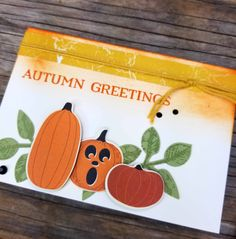 Spooky Night pumpkins die cut with the Patterned Pumpkins thinlits on Autumn Greeting Note cards, by Patty Bennett