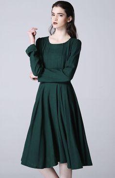 96a519cb169f Green linen dress women midi cute dress 1176 by xiaolizi on Etsy Linne  Klänningar, Söta