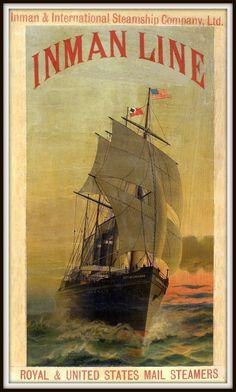 Inman Line New York Liverpool Travel 1890 Poster Print