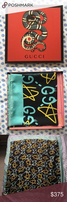 "Authentic Gucci Ghost Shawl Black&Blue Like new authentic 100% silk twill Gucci Ghost (Fall/Winter 2016 Collection) Shawl. Modal. Black & blue & yellow. Comes with original bag, box, and wrap as shown in photos • Fringe edges • 35.5""W x 35.5""L • Made in Italy Gucci Accessories Scarves & Wraps"