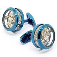 Blue Stainless Steel Transparent Tourbillon Cuff Links beour-Watch CuffLink