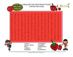 Fun 8 word search puzzle the promotes the healthy fruits and vegetables that color your plate with red.