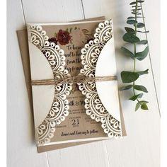 doily laser cut invitation, marsala wedding invitation, rustic wedding invitation