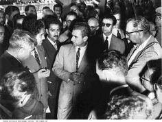Pahlavi II, Mohammad Reza Shah on July, 8,1955 visits Indian delegate inquiring about Indian development projects after the ceremony talking to India's Trade Commissioner in Tehran