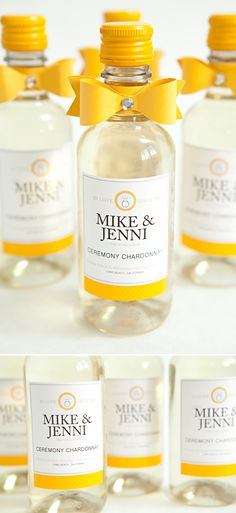 DIY mini-wine bottle wedding favors, Ceremony Chardonnay!