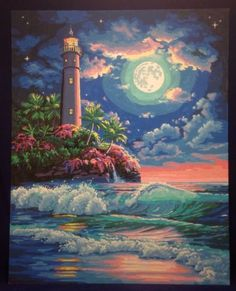 "Paint By Number Lighthouse in the Moonlight Tropical Scene ""20W x 16""H Completed"
