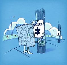 Missing puzzle piece humor Punny Puns, Cute Puns, Funny Cute, Illustration Mignonne, Funny Illustration, Cute Comics, Funny Comics, Funny Images, Funny Pictures