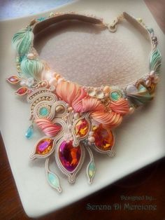 """Sherbet"" Necklace by Serena Di Mercione --- beadembroidery, soutache, shibori silk, swarovski ---- mint and orange"