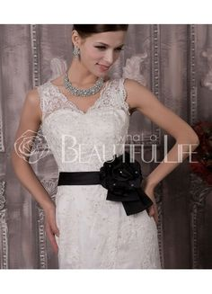 Vivien Satin And Lace Chapel Train V-Neck Sash Sheath/Column Wedding Dress $270.49