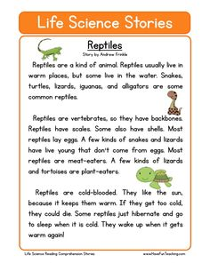 This Reptiles Life Science Reading Comprehension Worksheet will help your students build their reading comprehension skills while reading a non-fiction text about reptiles.