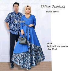 Setelan Baju Batik Couple Sarimbit Dilan Maharani Warna Biru 3cc947cb18