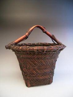 Japanese early 20th century bamboo flower basket