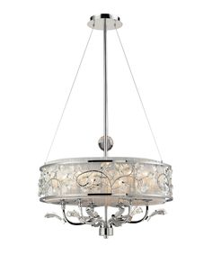 Calista Pendant Light Fixture- Polished chrome and silver silk string drum shade adds a little bling to any space. Find at Gloria Rinaldi Decorating and Design 416-526-4102