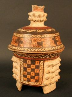 Maya; Polychrome lidded censer; Ceramic; Classical 600 to 900 AD