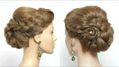 Easy Updo For Parties. Simple Hairstyle For Long Hair With Braided Flower