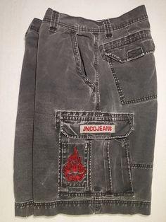 0b41d284cbe JNCO Jeans Black Denim Red Hot Rod Flames Crown Cargo Shorts Mens 32 Zipper  3007