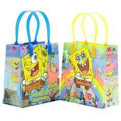 Spongebob Squarepants Reusable Party Favor Goodie Small Gift Bags 12 (12 Bags)